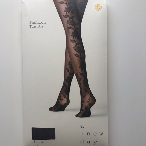 470401418 a new day Accessories | Sheer Black Tights With Floral Design | Poshmark